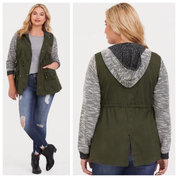 5ae281313611af torrid Jackets & Coats | Olive Marled Mixed Media Anorak Jacket 5 ...